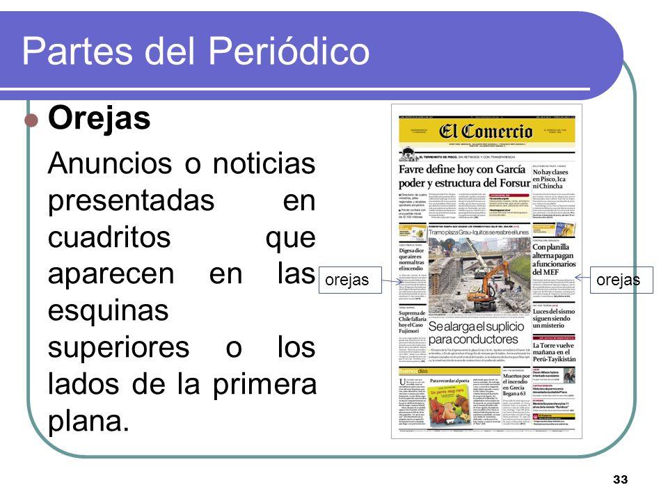 33 Partes del Periódico Orejas Anuncios o noticias presentadas en cuadritos que aparecen en las esquinas superiores o los lados de la primera plana. o