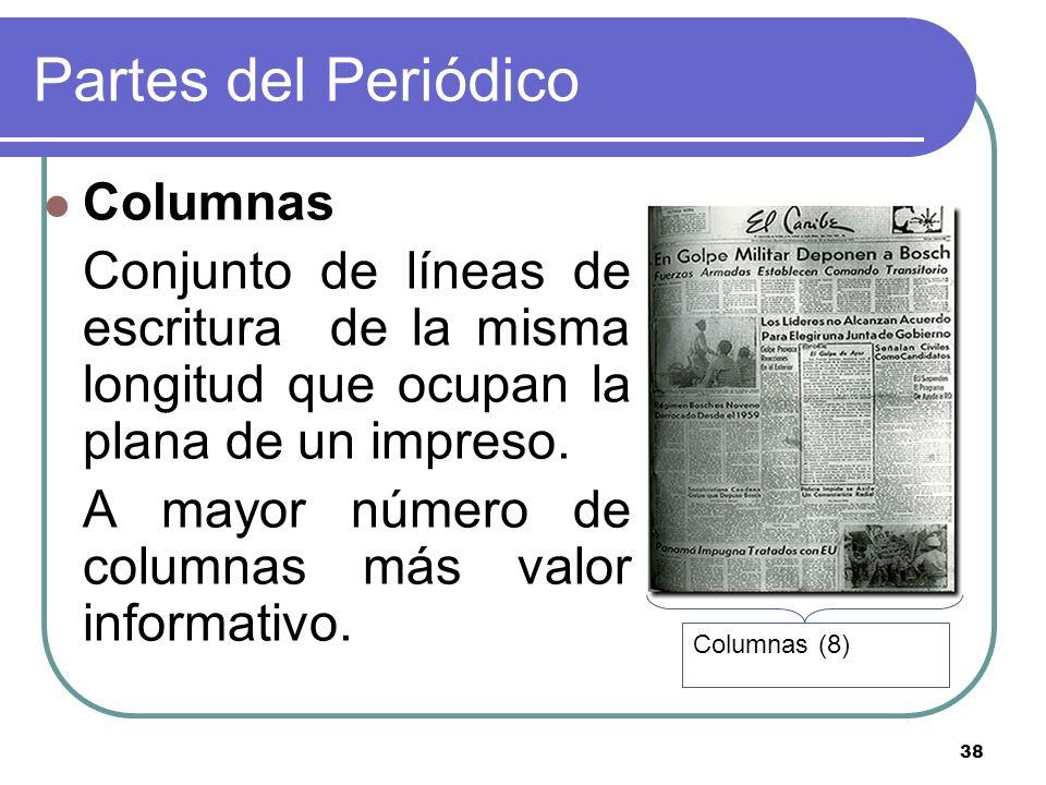 38 Partes del Periódico Columnas Conjunto de líneas de escritura de la misma longitud que ocupan la plana de un impreso. A mayor número de columnas má