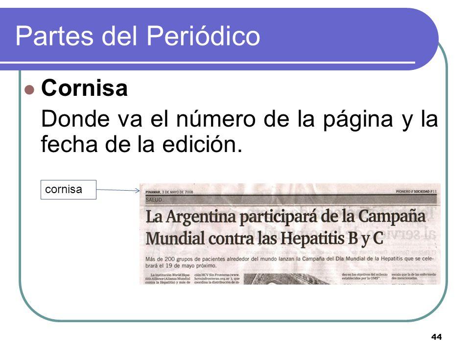 44 Partes del Periódico Cornisa Donde va el número de la página y la fecha de la edición. cornisa