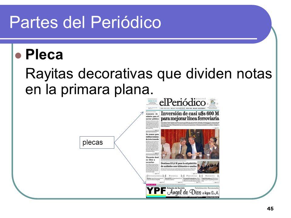 45 Partes del Periódico Pleca Rayitas decorativas que dividen notas en la primara plana. plecas