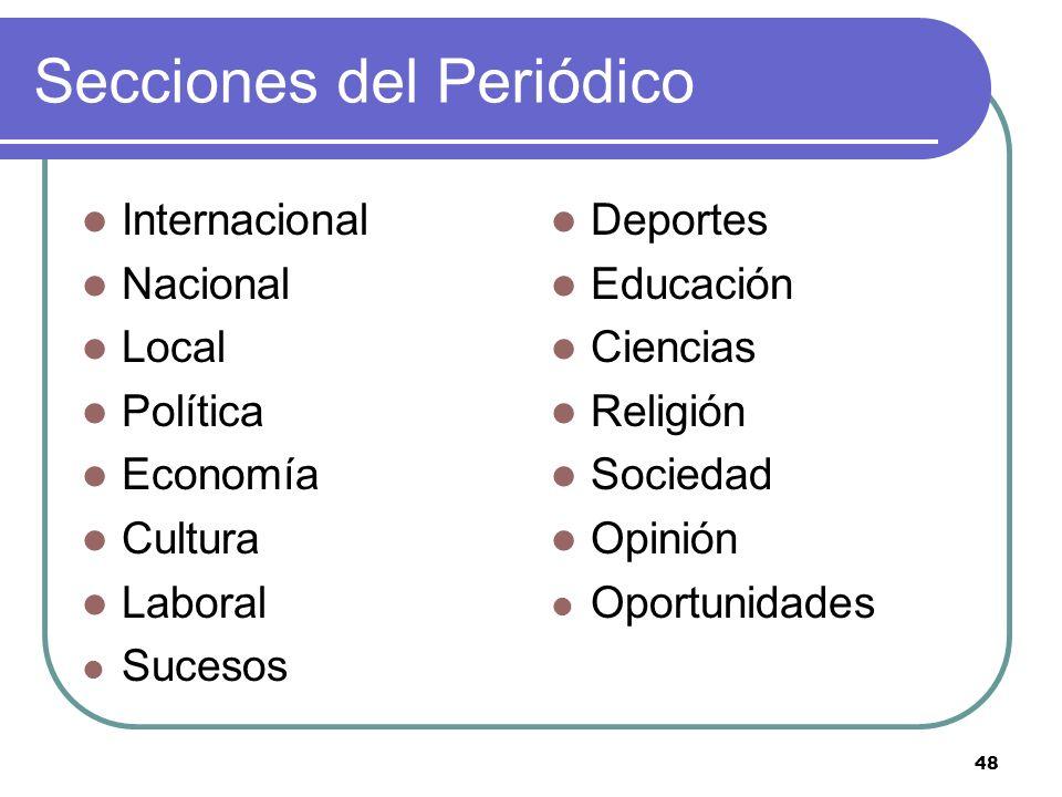 48 Secciones del Periódico Internacional Nacional Local Política Economía Cultura Laboral Sucesos Deportes Educación Ciencias Religión Sociedad Opinió