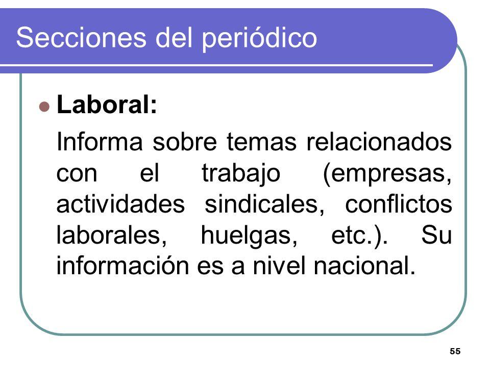 55 Secciones del periódico Laboral: Informa sobre temas relacionados con el trabajo (empresas, actividades sindicales, conflictos laborales, huelgas,