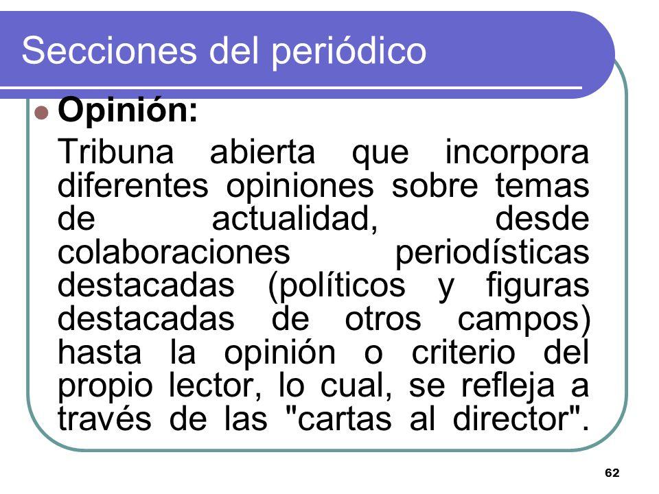 62 Secciones del periódico Opinión: Tribuna abierta que incorpora diferentes opiniones sobre temas de actualidad, desde colaboraciones periodísticas d