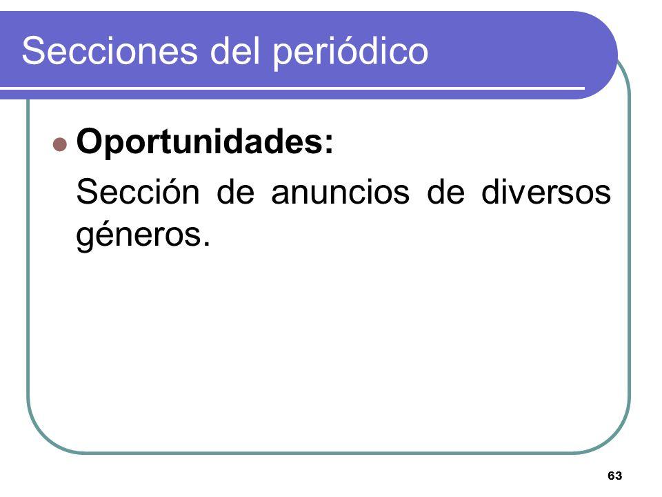 63 Secciones del periódico Oportunidades: Sección de anuncios de diversos géneros.