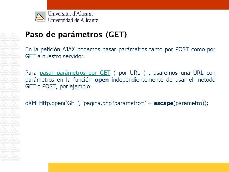 Paso de parámetros (GET) En la petición AJAX podemos pasar parámetros tanto por POST como por GET a nuestro servidor. Para pasar parámetros por GET (