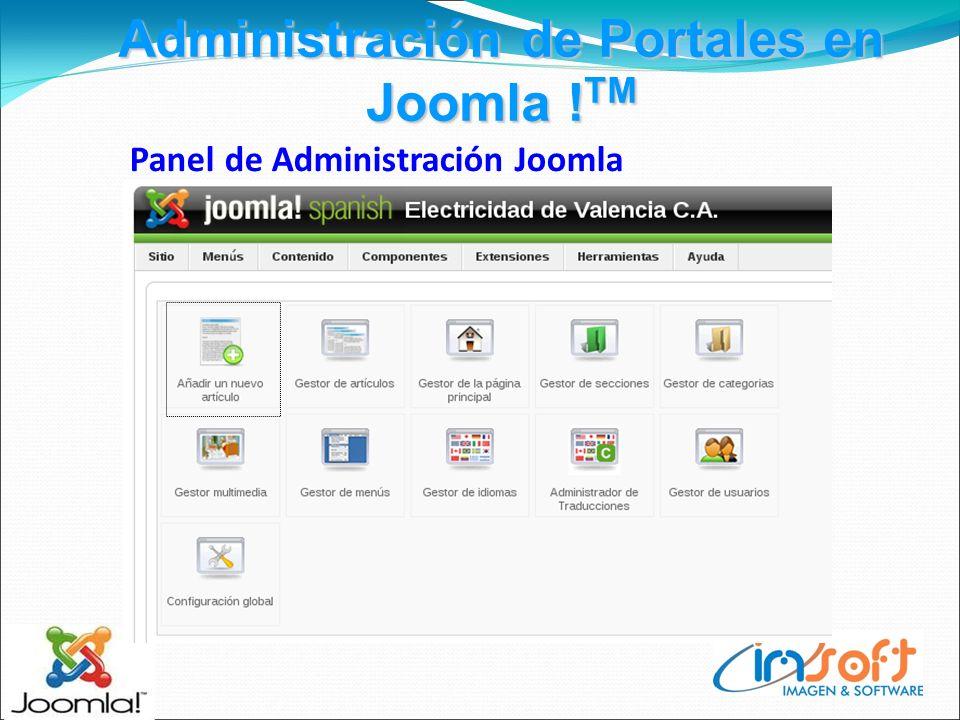 Administración de Portales en Joomla ! TM Panel de Administración Joomla