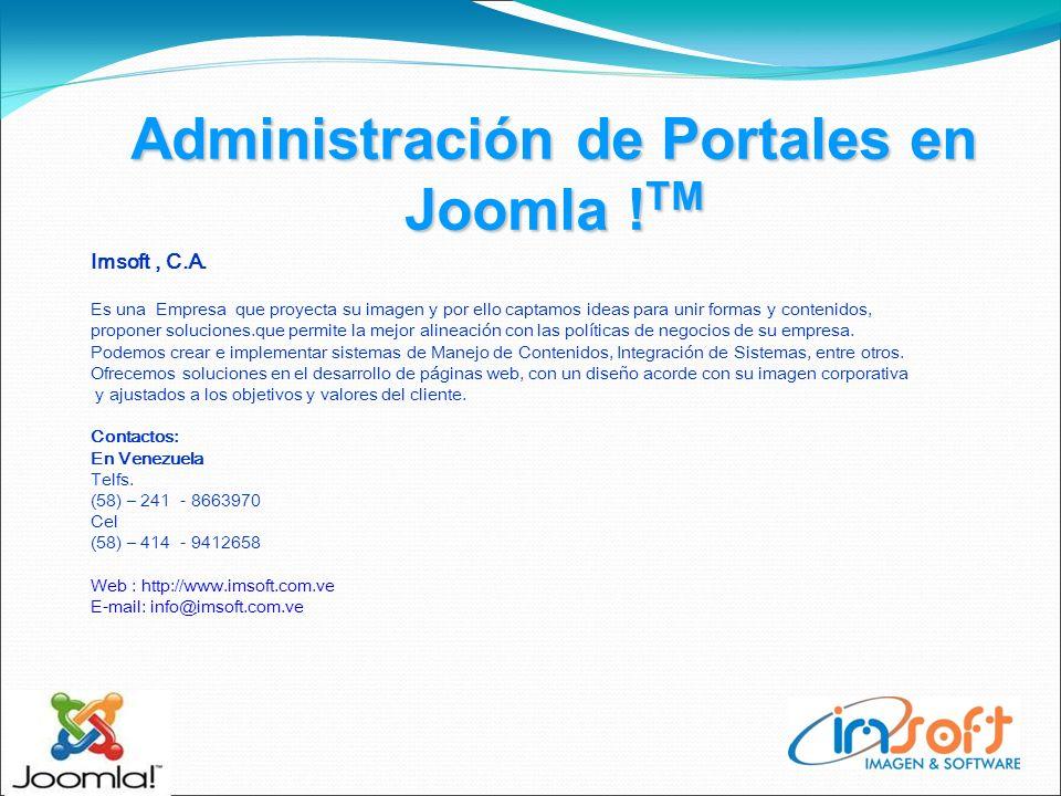 Administración de Portales en Joomla . TM Imsoft, C.A.