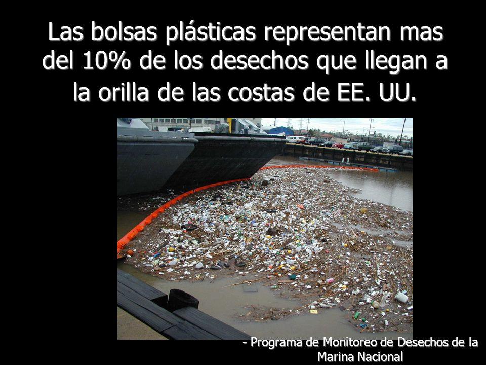 Las bolsas plásticas representan mas del 10% de los desechos que llegan a la orilla de las costas de EE.
