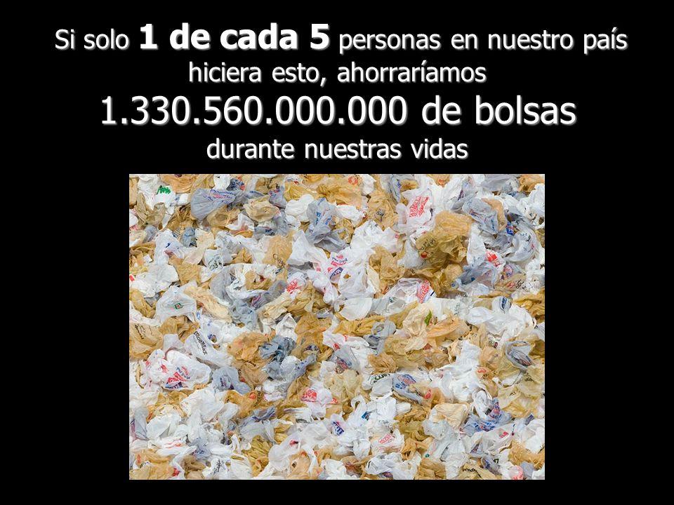 Si solo 1 de cada 5 personas en nuestro país hiciera esto, ahorraríamos 1.330.560.000.000 de bolsas durante nuestras vidas Si solo 1 de cada 5 persona