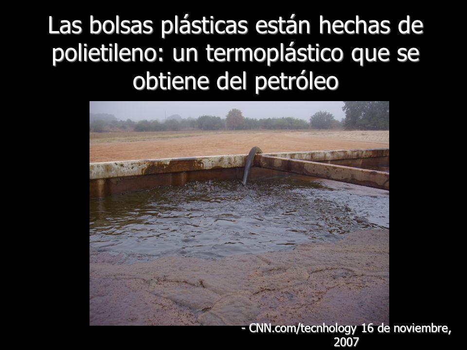Las bolsas plásticas están hechas de polietileno: un termoplástico que se obtiene del petróleo - CNN.com/tecnhology 16 de noviembre, 2007