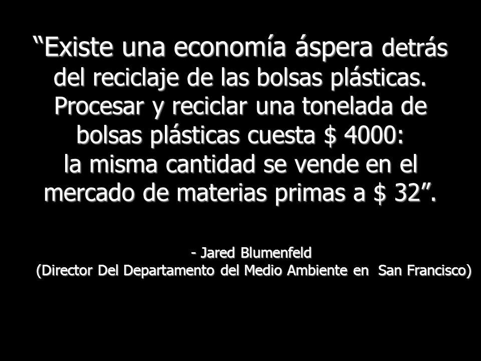 Existe una economía áspera detrás del reciclaje de las bolsas plásticas. Procesar y reciclar una tonelada de bolsas plásticas cuesta $ 4000: la misma