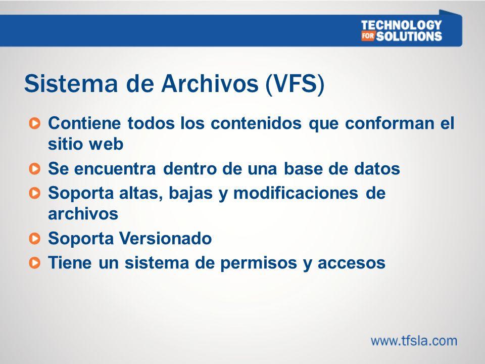 Sistema de Archivos (VFS) Contiene todos los contenidos que conforman el sitio web Se encuentra dentro de una base de datos Soporta altas, bajas y modificaciones de archivos Soporta Versionado Tiene un sistema de permisos y accesos