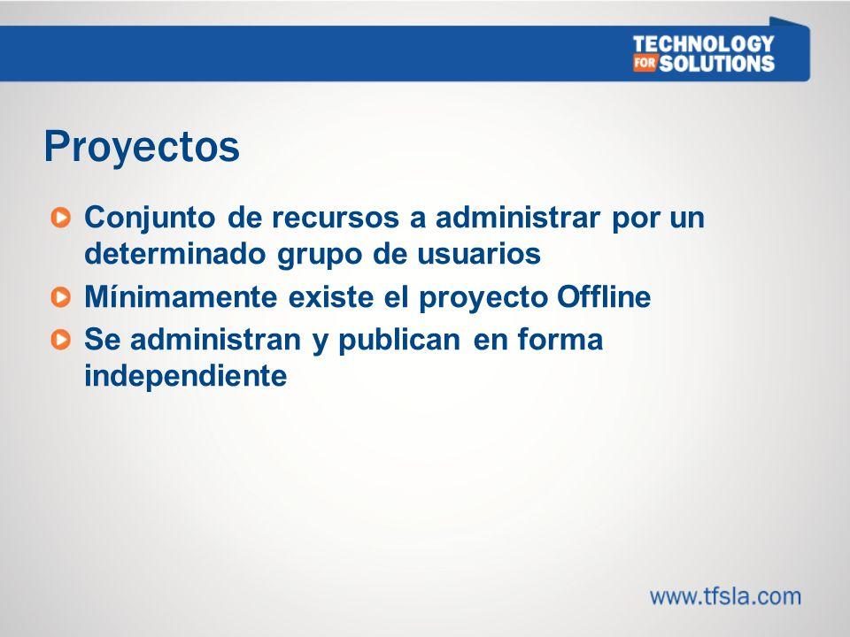 Proyectos Conjunto de recursos a administrar por un determinado grupo de usuarios Mínimamente existe el proyecto Offline Se administran y publican en forma independiente