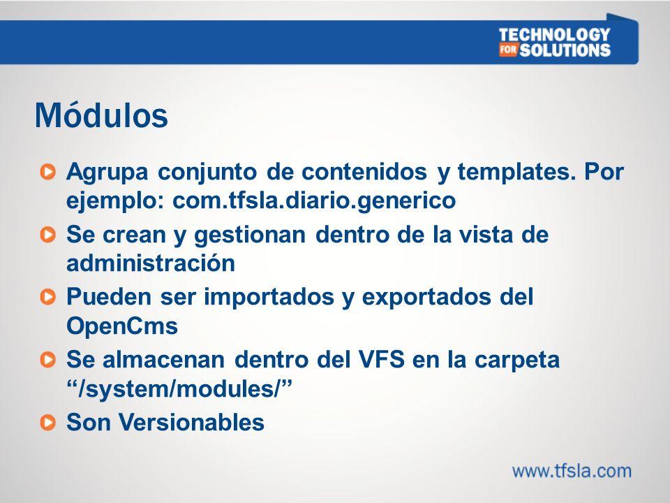 Módulos Agrupa conjunto de contenidos y templates.