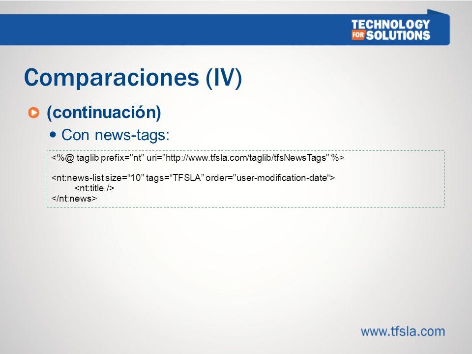 Comparaciones (IV) (continuación) Con news-tags: