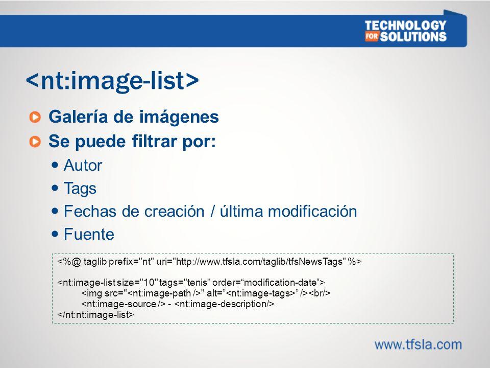 Galería de imágenes Se puede filtrar por: Autor Tags Fechas de creación / última modificación Fuente alt= /> -