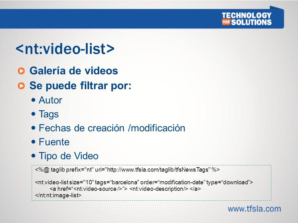 Galería de videos Se puede filtrar por: Autor Tags Fechas de creación /modificación Fuente Tipo de Video >