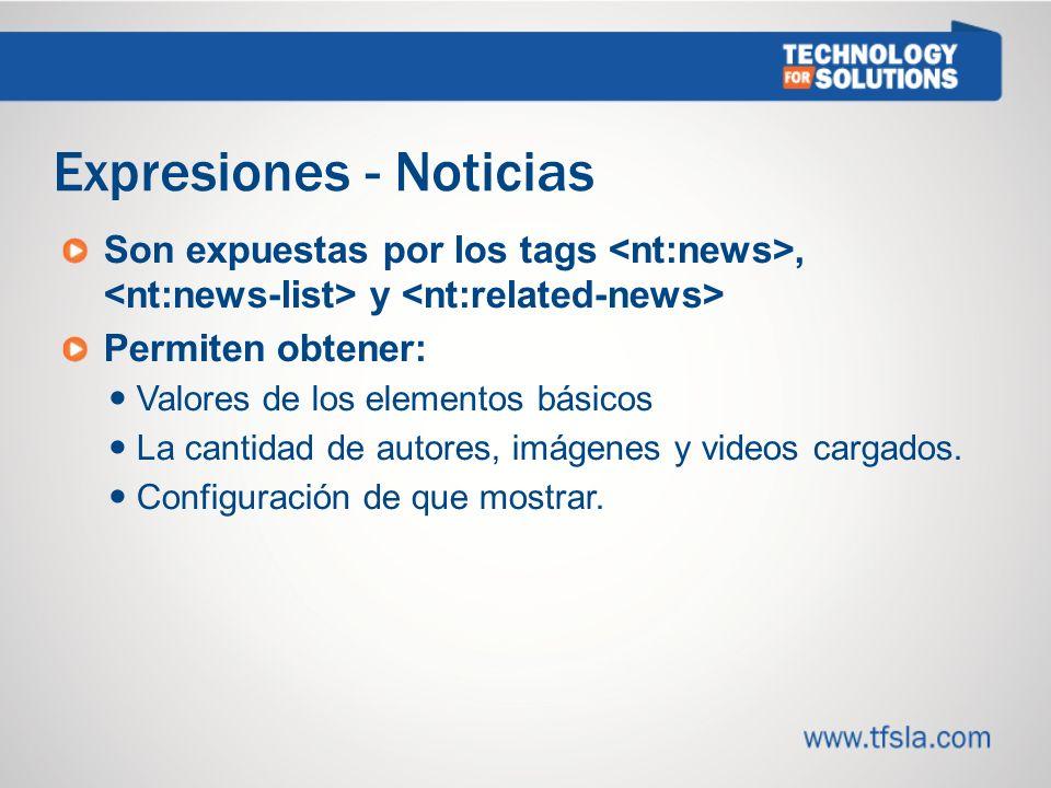 Expresiones - Noticias Son expuestas por los tags, y Permiten obtener: Valores de los elementos básicos La cantidad de autores, imágenes y videos cargados.
