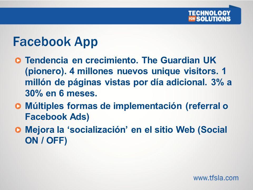 Facebook App Tendencia en crecimiento.The Guardian UK (pionero).