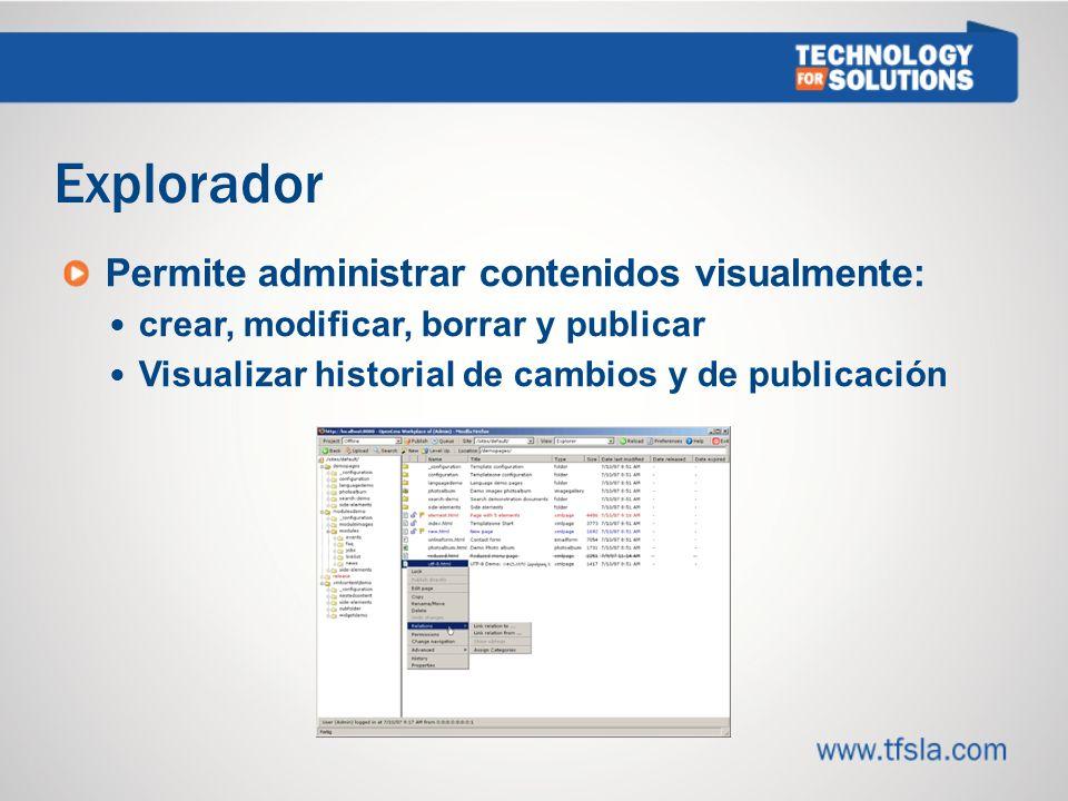 Explorador Permite administrar contenidos visualmente: crear, modificar, borrar y publicar Visualizar historial de cambios y de publicación