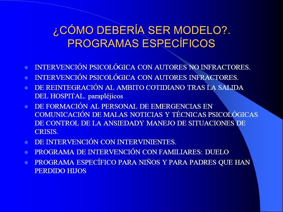 ¿CÓMO DEBERÍA SER MODELO?. PROGRAMAS ESPECÍFICOS INTERVENCIÓN PSICOLÓGICA CON AUTORES NO INFRACTORES. INTERVENCIÓN PSICOLÓGICA CON AUTORES INFRACTORES