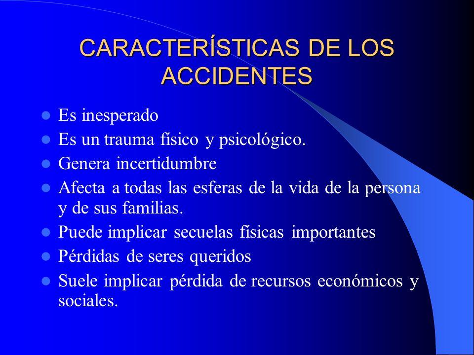 CARACTERÍSTICAS DE LOS ACCIDENTES Es inesperado Es un trauma físico y psicológico. Genera incertidumbre Afecta a todas las esferas de la vida de la pe
