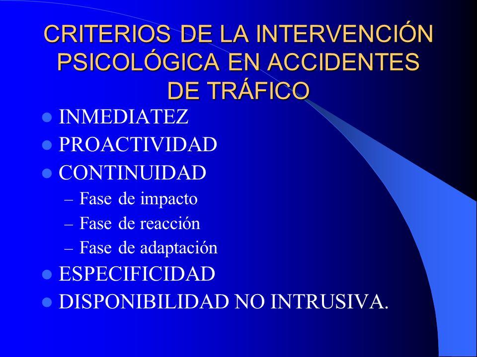 CRITERIOS DE LA INTERVENCIÓN PSICOLÓGICA EN ACCIDENTES DE TRÁFICO INMEDIATEZ PROACTIVIDAD CONTINUIDAD – Fase de impacto – Fase de reacción – Fase de a