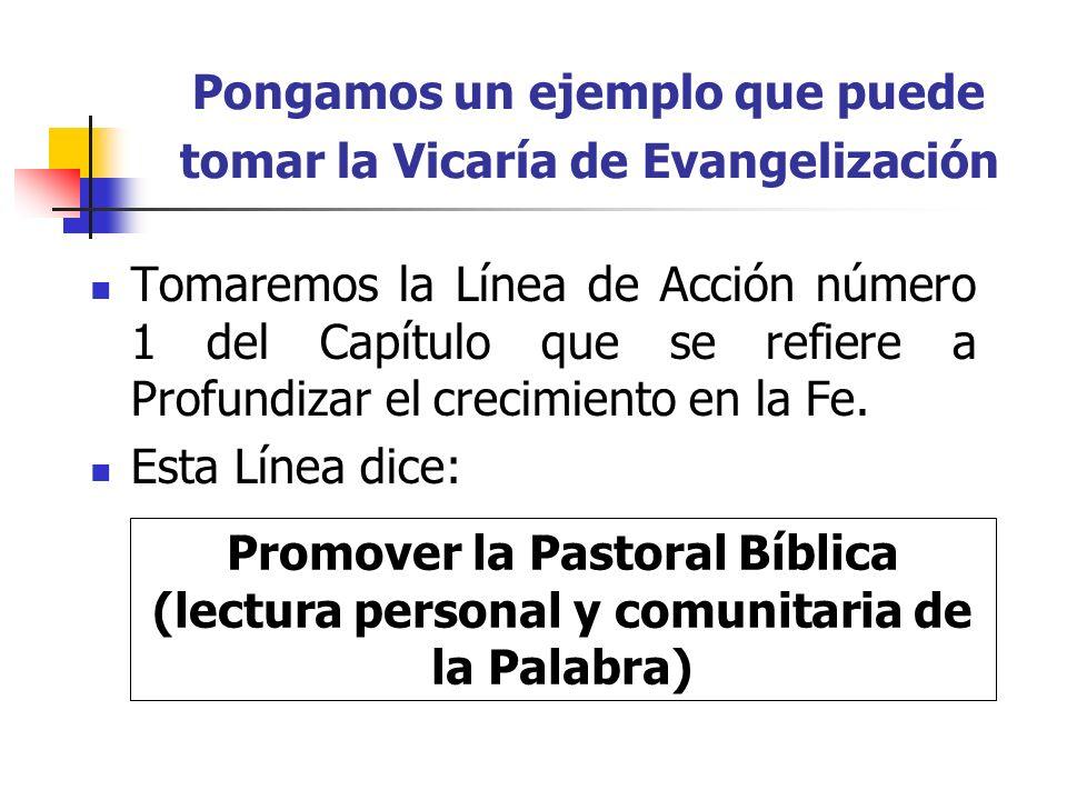 Pongamos un ejemplo que puede tomar la Vicaría de Evangelización Tomaremos la Línea de Acción número 1 del Capítulo que se refiere a Profundizar el cr