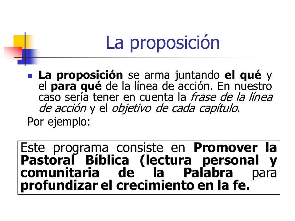 La proposición La proposición se arma juntando el qué y el para qué de la línea de acción. En nuestro caso sería tener en cuenta la frase de la línea