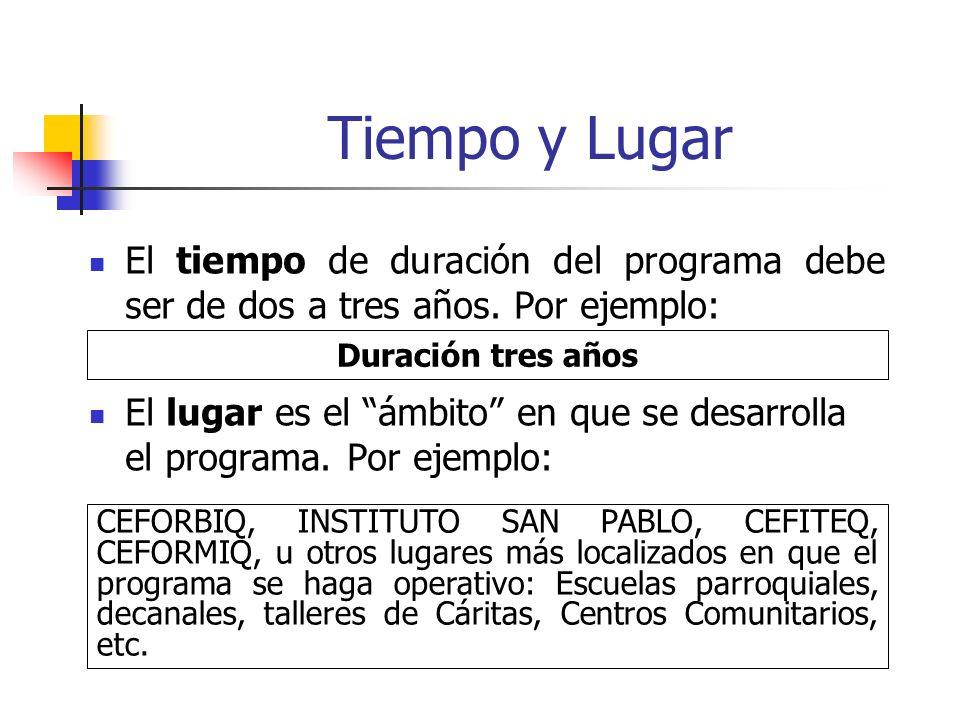 Tiempo y Lugar El tiempo de duración del programa debe ser de dos a tres años. Por ejemplo: El lugar es el ámbito en que se desarrolla el programa. Po
