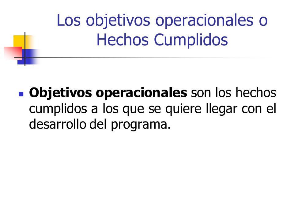 Los objetivos operacionales o Hechos Cumplidos Objetivos operacionales son los hechos cumplidos a los que se quiere llegar con el desarrollo del progr