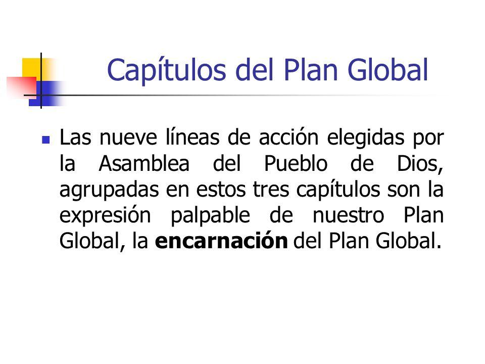 Capítulos del Plan Global Las nueve líneas de acción elegidas por la Asamblea del Pueblo de Dios, agrupadas en estos tres capítulos son la expresión p