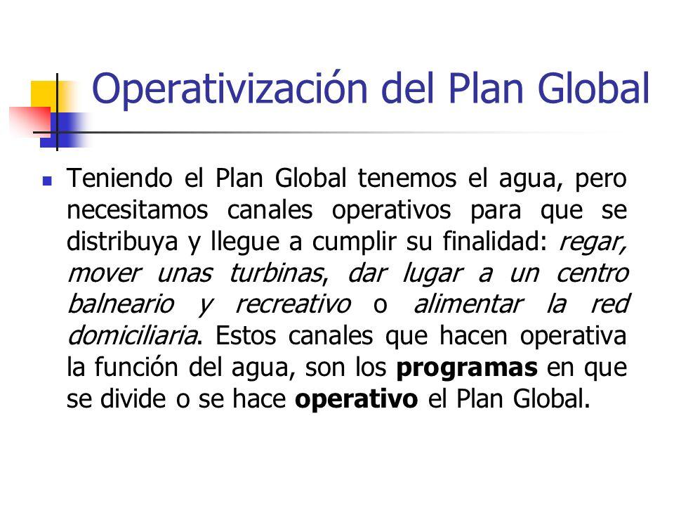 Operativización del Plan Global Teniendo el Plan Global tenemos el agua, pero necesitamos canales operativos para que se distribuya y llegue a cumplir