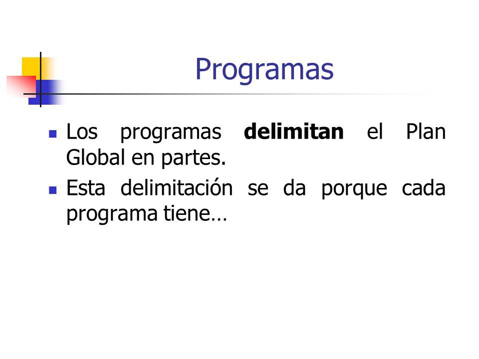 Programas Los programas delimitan el Plan Global en partes. Esta delimitación se da porque cada programa tiene…