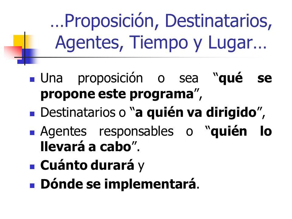 …Proposición, Destinatarios, Agentes, Tiempo y Lugar… Una proposición o sea qué se propone este programa, Destinatarios o a quién va dirigido, Agentes