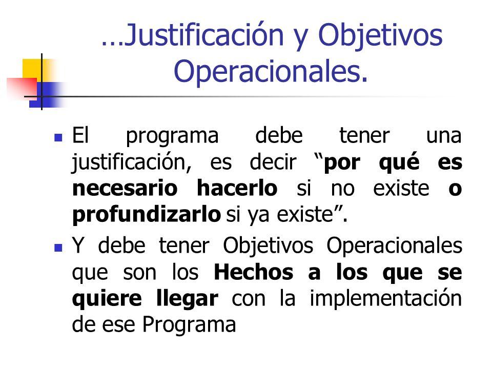 …Justificación y Objetivos Operacionales. El programa debe tener una justificación, es decir por qué es necesario hacerlo si no existe o profundizarlo