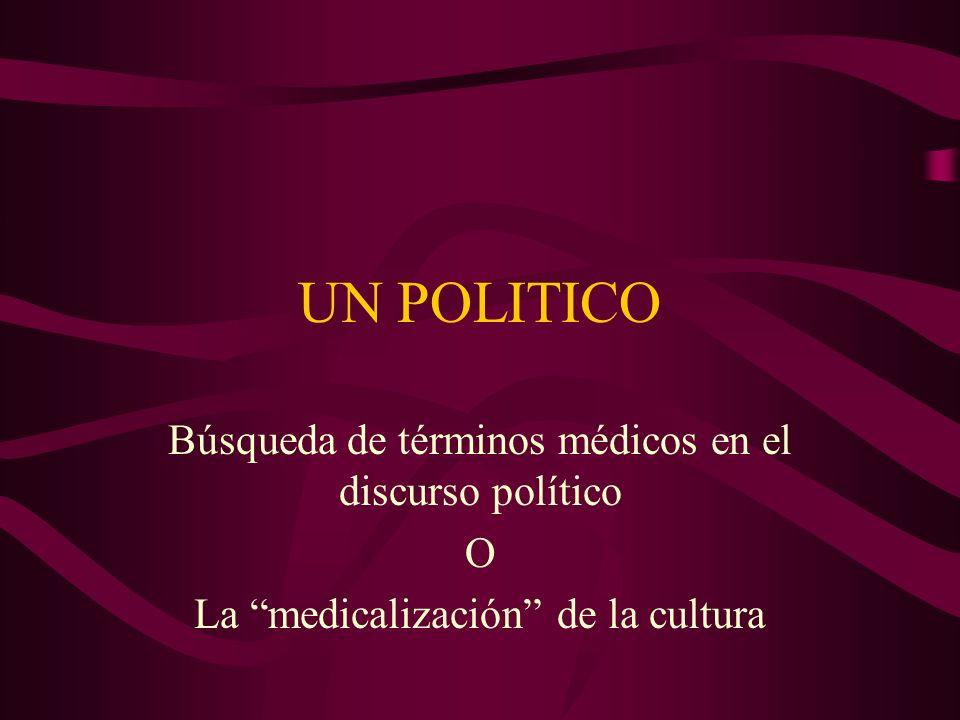 UN POLITICO Búsqueda de términos médicos en el discurso político O La medicalización de la cultura