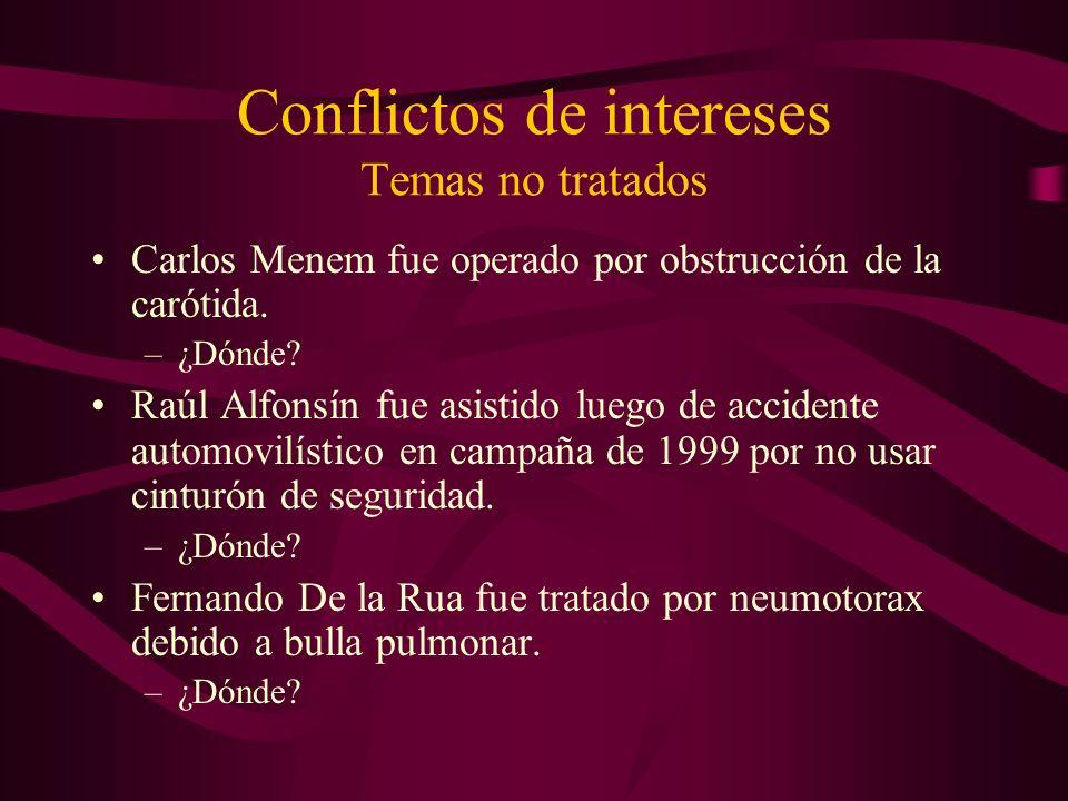 Conflictos de intereses Temas no tratados Carlos Menem fue operado por obstrucción de la carótida. –¿Dónde? Raúl Alfonsín fue asistido luego de accide