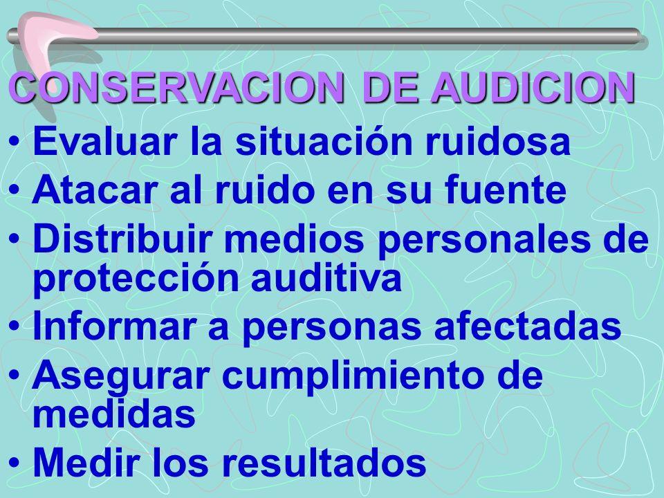 CONSERVACION DE AUDICION Evaluar la situación ruidosa Atacar al ruido en su fuente Distribuir medios personales de protección auditiva Informar a pers