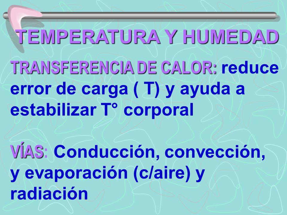 TEMPERATURA Y HUMEDAD TRANSFERENCIA DE CALOR: TRANSFERENCIA DE CALOR: reduce error de carga ( T) y ayuda a estabilizar T° corporal VÍAS VÍAS: Conducción, convección, y evaporación (c/aire) y radiación