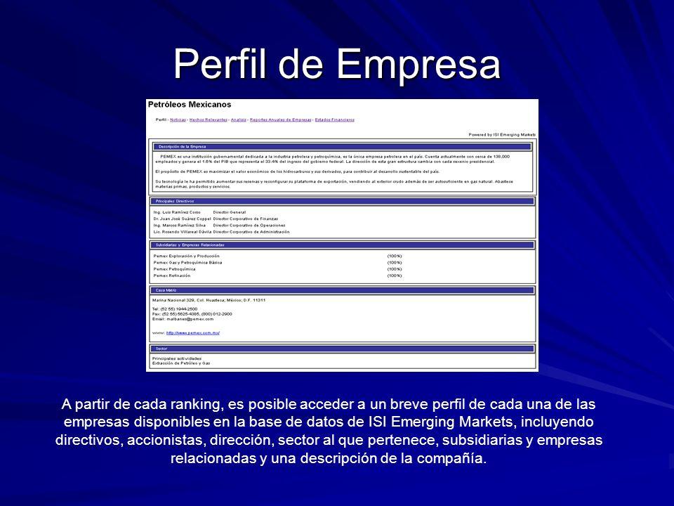 Perfil de Empresa A partir de cada ranking, es posible acceder a un breve perfil de cada una de las empresas disponibles en la base de datos de ISI Em