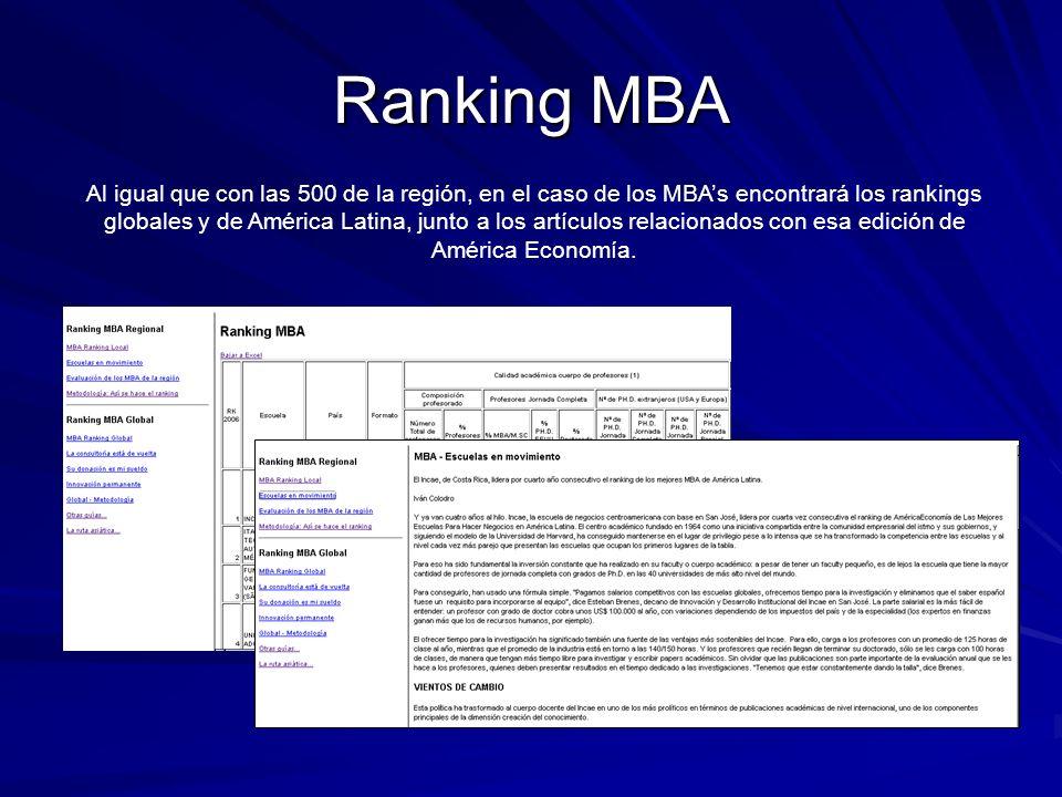 Ranking MBA Al igual que con las 500 de la región, en el caso de los MBAs encontrará los rankings globales y de América Latina, junto a los artículos