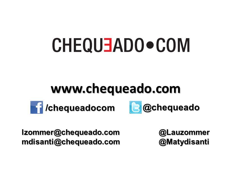 www.chequeado.com /chequeadocom @chequeado lzommer@chequeado.com @Lauzommer mdisanti@chequeado.com @Matydisanti