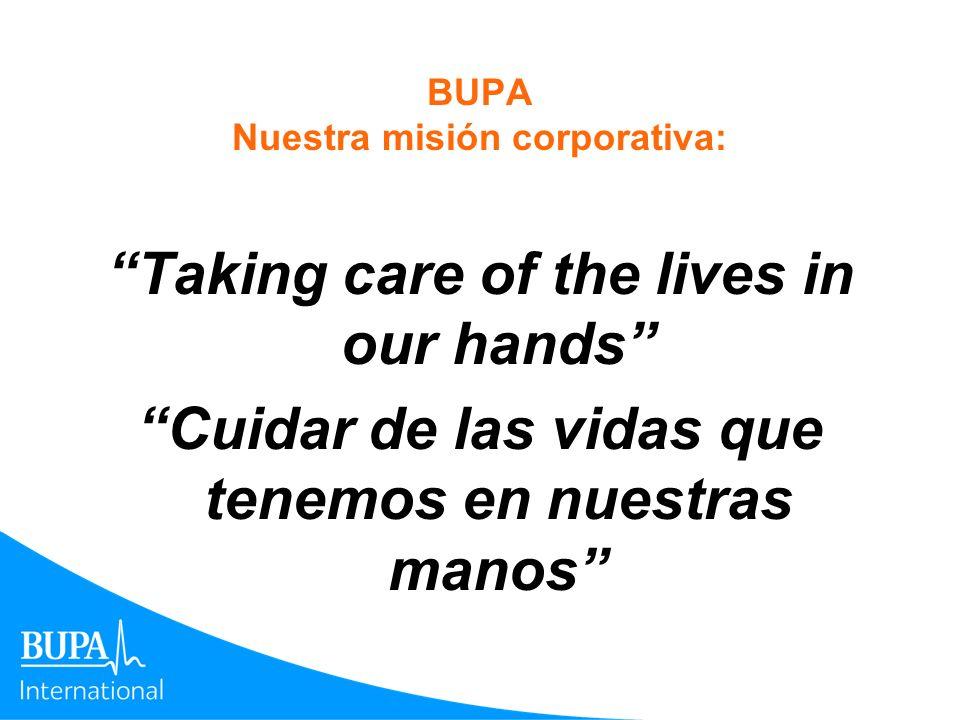 BUPA Nuestra misión corporativa: Taking care of the lives in our hands Cuidar de las vidas que tenemos en nuestras manos