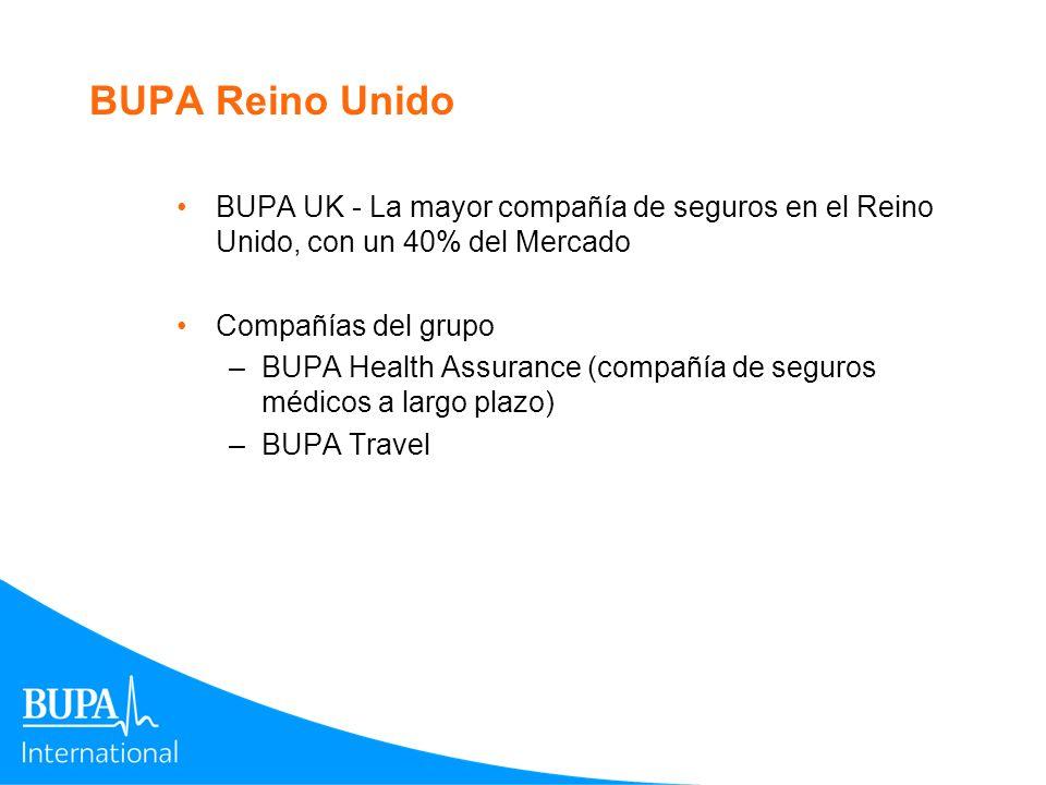 BUPA Reino Unido BUPA UK - La mayor compañía de seguros en el Reino Unido, con un 40% del Mercado Compañías del grupo –BUPA Health Assurance (compañía