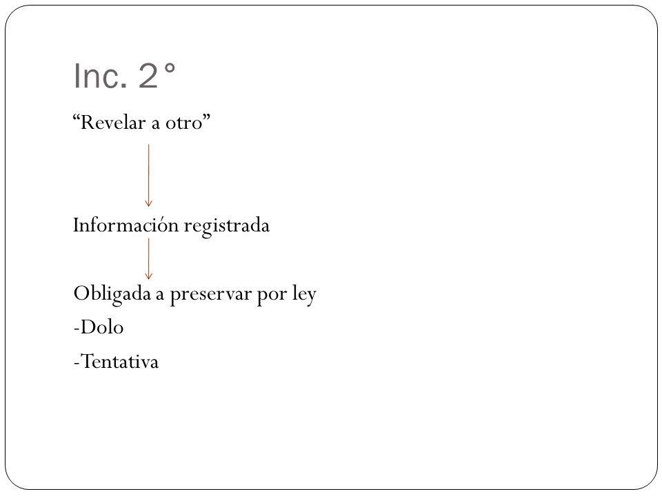 Inc. 2° Revelar a otro Información registrada Obligada a preservar por ley -Dolo -Tentativa