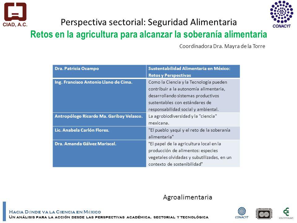 Hacia D ó nde va la Ciencia en M é xico Un análisis para la acción desde las perspectivas académica, sectorial y tecnológica Perspectiva sectorial: Seguridad Alimentaria Retos en la agricultura para alcanzar la soberanía alimentaria Dra.