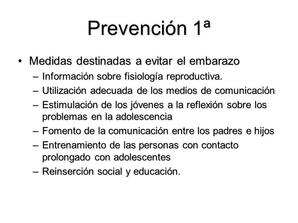 Prevención 1ª Medidas destinadas a evitar el embarazoMedidas destinadas a evitar el embarazo –Información sobre fisiología reproductiva. –Utilización