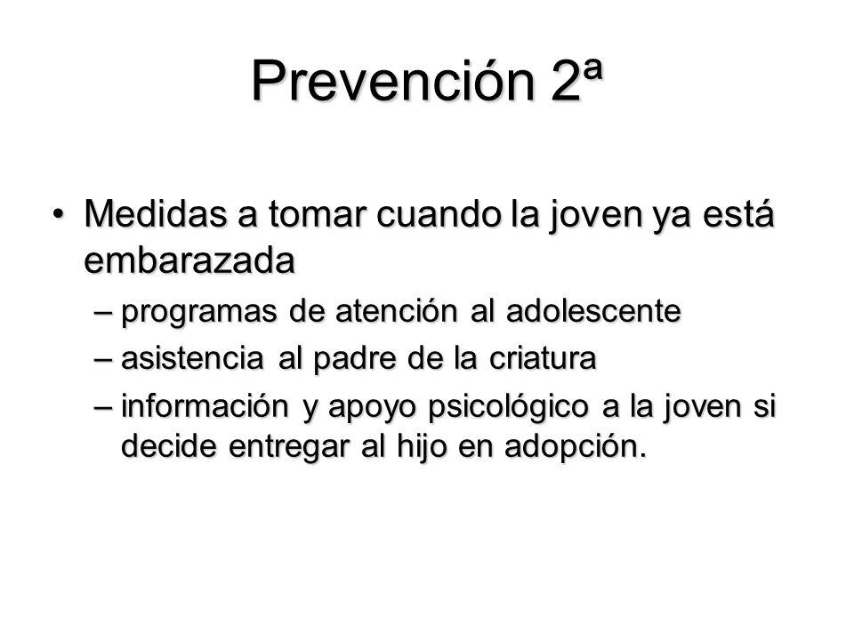 Prevención 2ª Medidas a tomar cuando la joven ya está embarazadaMedidas a tomar cuando la joven ya está embarazada –programas de atención al adolescen