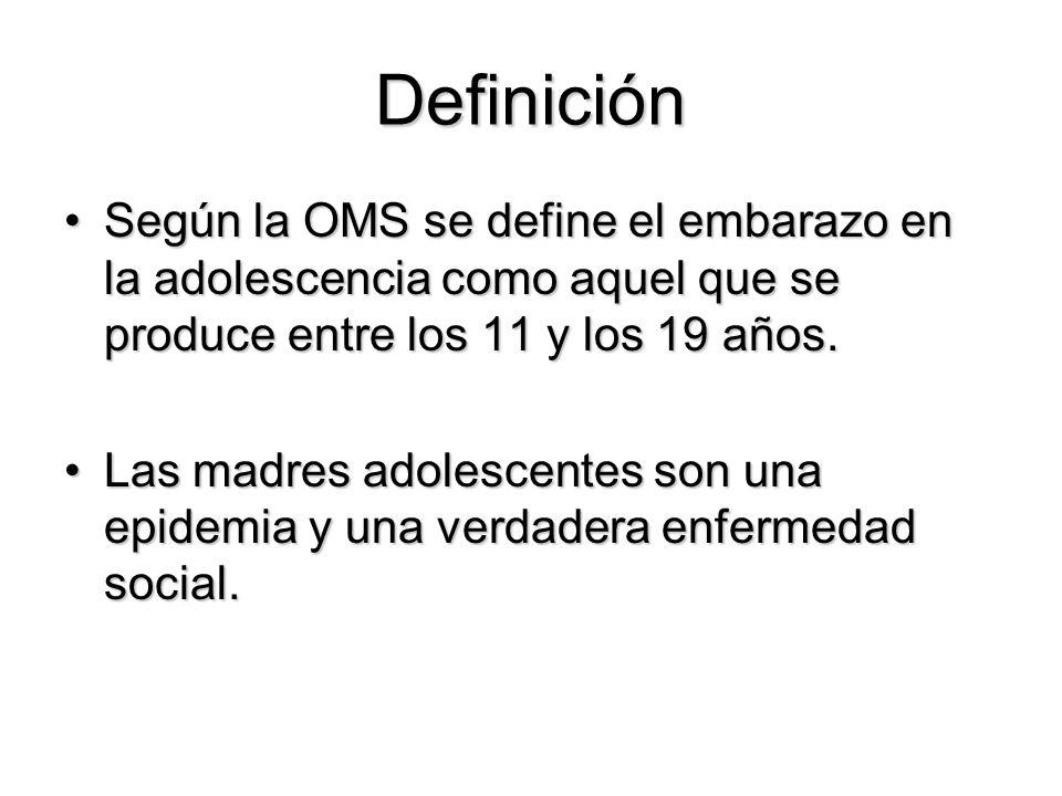 Definición Según la OMS se define el embarazo en la adolescencia como aquel que se produce entre los 11 y los 19 años.Según la OMS se define el embara